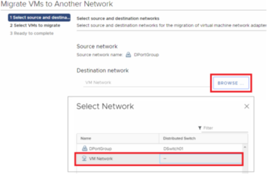 vCenter Server 6 5 – Migrate VMs from Virtual Distributed Switch to